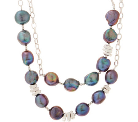 "RLM Bronze & Cultured Pearl 40"" Station Necklace"