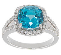 Cushion Cut Blue Zircon & Diamond Ring, 14K, 4.50 cttw - J355444