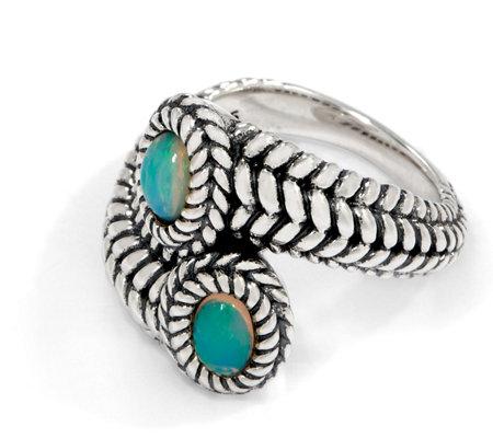 Jai Sterling Silver Gemstone Basketweave Bypass Ring