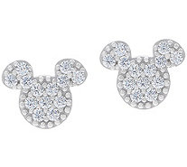 Mickey's 90th Birthday Pave' Stud Earrings, Sterling Silver - J358044