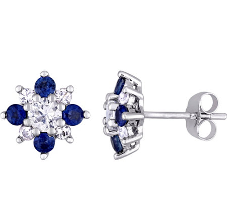 14K 1.55 cttw Blue & White Sapphire Flower Earrings
