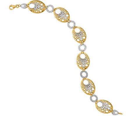 "14K Two-tone Bubble 7-1/4"" Bracelet, 6.1g"