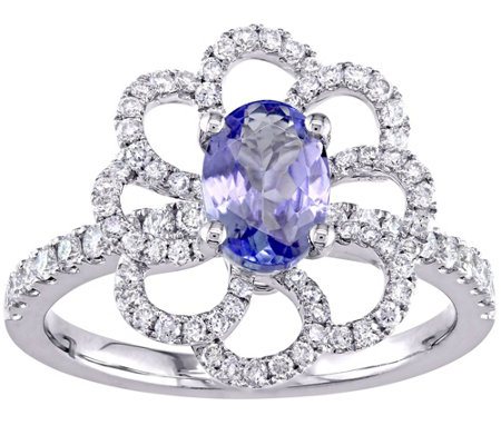 0.75 ct Tanzanite & 2/5 cttw Diamond Flower Ring, 14K