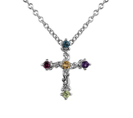 Carolyn Pollack Sterling Multi-Gemstone Cross Necklace