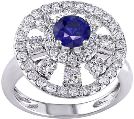 18K Gold 0.70 ct Sapphire & 1-1/3 ct Diamond Cocktail Ring