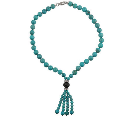 Judith Ripka Sterling Turquoise & Diamonique Tassel Necklace