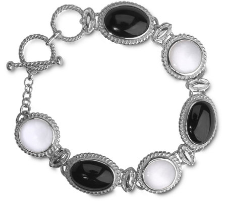 American West Sterling Black & White Agate LinkBracelet