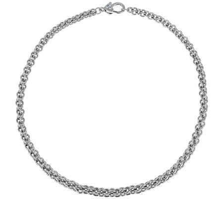 "Judith Ripka Verona Sterling 18"" Basket-Weave Necklace, 51.5g"