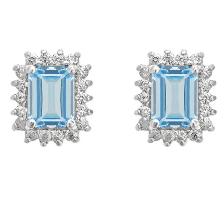 14K Gold 1.40 cttw Emerald-Cut Aquamarine HaloStud Earrings