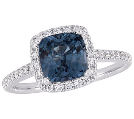 14K Gold 2.25-ct Blue Spinel & 3/8-ct Diamond Halo Ring