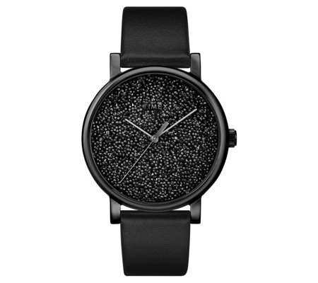 Timex Women's Swarovski Crystal Black Leather Strap Watch