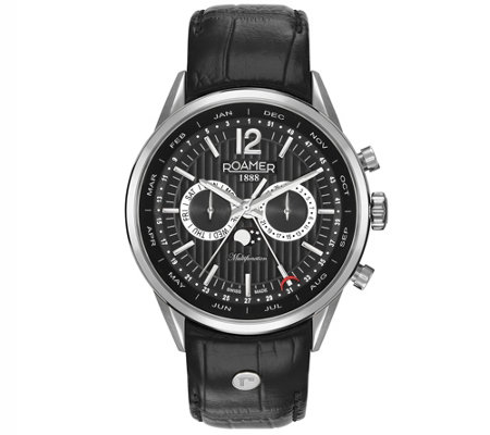 Roamer Men's Black Leather Band Watch