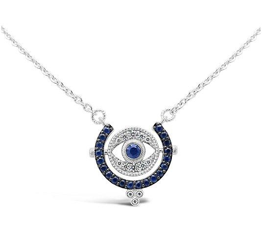 Evil Eye  Earrings with Sapphire cz Eye 925 Sterling Silver
