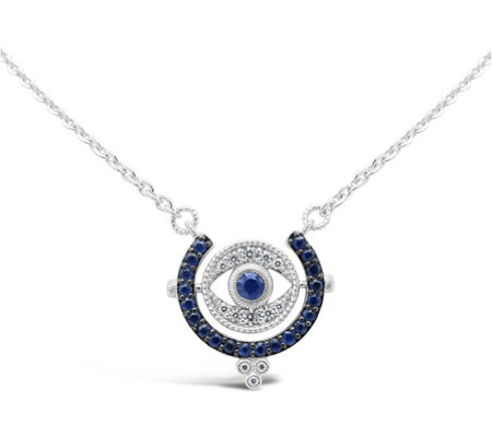 Judith Ripka Sterling Sapphire & Diamonique Evil Eye Necklace