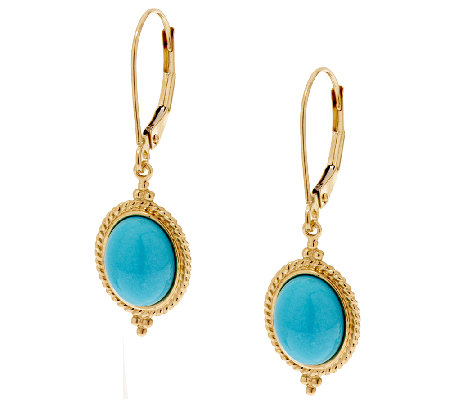 Sleeping Beauty Turquoise Leverback Drop Earrings 14k Gold