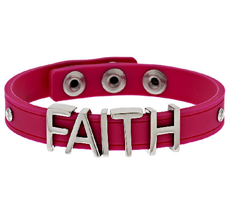Stainless Steel Faith Silicone Adjustable Bracelet