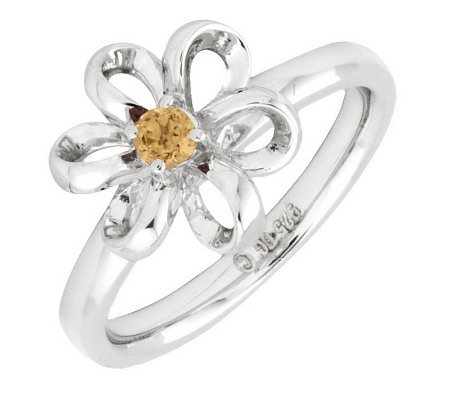Simply Stacks Sterling Twisted Petals GemstoneFlower Ring