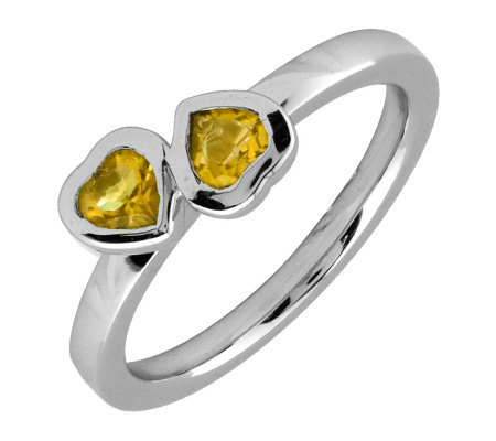 Simply Stacks Sterling & Citrine Double Heart Ring