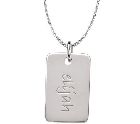 Posh Mommy Sterling Mini Dog Tag Pendant with Chain