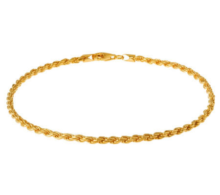 "Veronese 18K Clad 10"" Diamond-Cut Rope Chain Anklet"