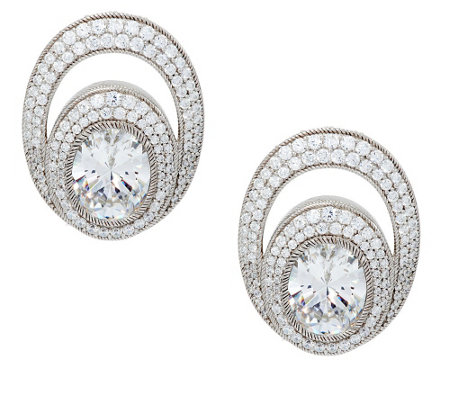 """As Is"" Judith Ripka 13.65 ct tw Oval & Pave' Diamonique Earrings"