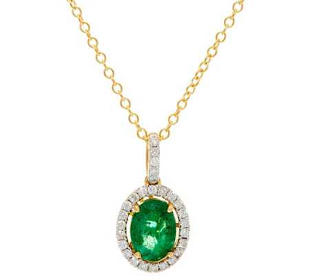 Ruby, Emerald or Sapphire & Diamond Pendant w/ Chain 14K, 0.90 ct