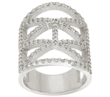 """As Is"" Italian Silver Sterling Diamonique Deco Design Ring"