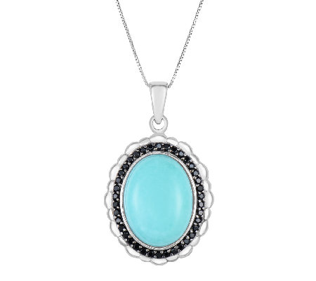 Oval Turquoise & Black Spinel Halo Pendant w/ Chain, Sterling