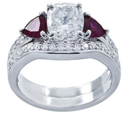 Diamonique Simulated Gemstone Bridal Ring Set Platinum Cla
