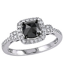 Cushion Black Halo Diamond Ring, 14K Gold, 1cttw, by Affinity - J340745