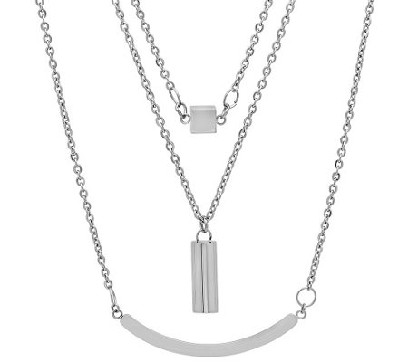 Stainless Steel Layered Geometric Necklace