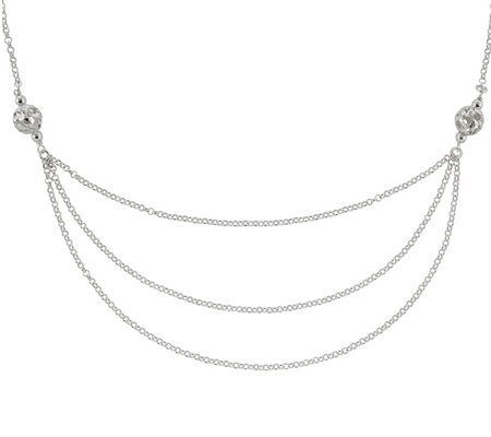 "Sterling Silver Layered-Look 18"" Chain by Silver Style"