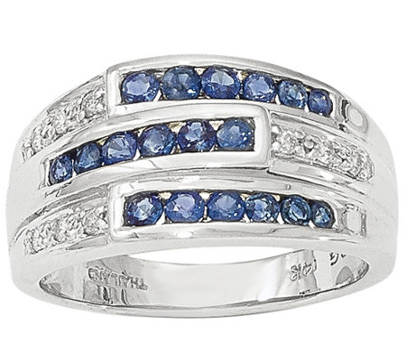 Sapphire and Diamond Band Ring, 14K White Gold