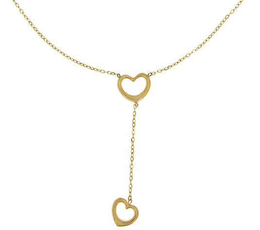 Italian Gold Polished Open Hearts Y-Necklace, 14K