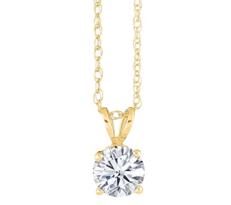 Round Solitaire Diamond Pendant, 14K Yellow,1/4ct by Affinity