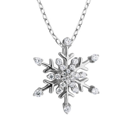 Diamonique Snowflake Pendant With 18 Chain Sterling