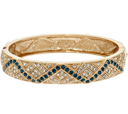 Grace Kelly Collection Simulated Gemstone Hinged Bangle