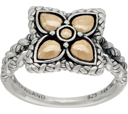 JAI Sterling & 14K Gold Lotus Petal Flower Ring