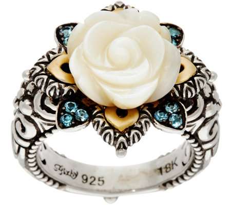 Barbara Bixby Sterling/18K Mother of Pearl & Blue Topaz Flower Ring
