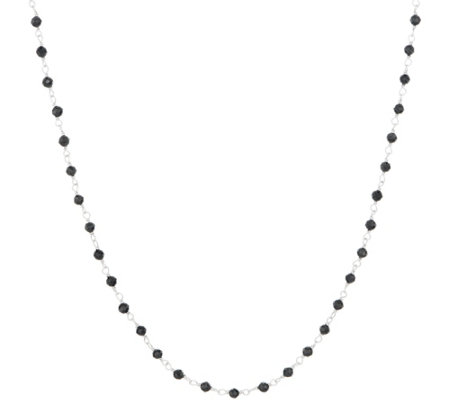 "Italian Silver 11.20 cttw Black Spinel Sterling 18"" Necklace"
