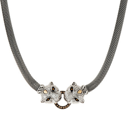 JAI Sterling Silver Figural Double Leopard Head Mesh Necklace