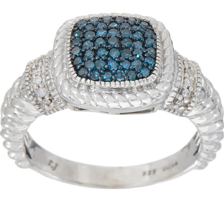 Colored Diamond Cushion Ring, 1/4 cttw, Sterling, by Affinity
