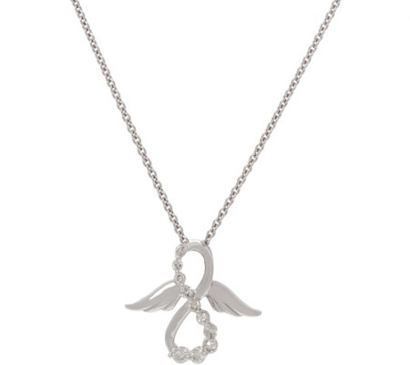 Affinity Diamond Angel Pendant on Chain,1/7 cttw, Sterling