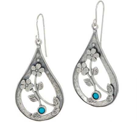 Or Paz Sterling Silver Pear Shaped Turquoise Dangle Earrings