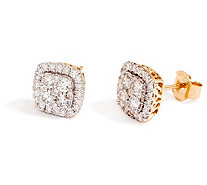 Cushion Cluster Diamond Stud Earrings, 14K, 1.00 cttw, by Affinity - J355045
