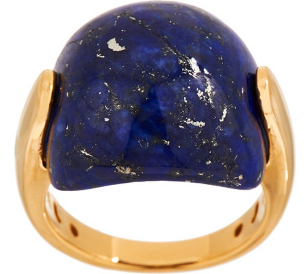 """As Is"" Opaque Gemstone Cabochon Ring, 14K Gold-Plated Sterling Silver"
