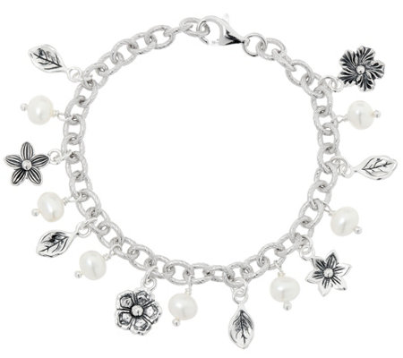 Or Paz Sterling Silver Pearl Charm Bracelet