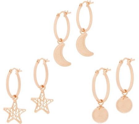 Italian Gold Hoop Earrings Charm Set 14k Rose Gold