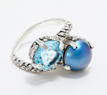 Stephen Dweck Sterling Silver Blue Topaz Cultured Pearl Bypass Ring
