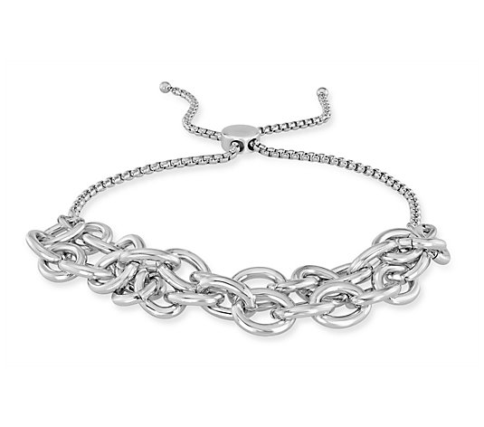 Steel by Design   Double Oval Rolo Link Adjustable Bracelet
